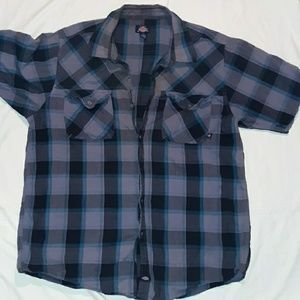 Mens 4XL Dickies black, teal &gray plaid button up